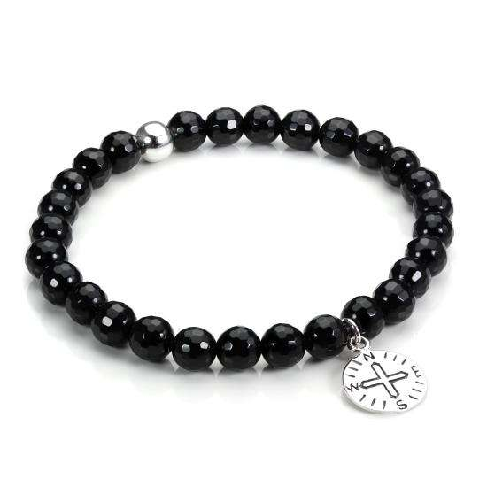 Stretchy Sterling Silver and Faceted Black Agate Bracelet with Compass Charm