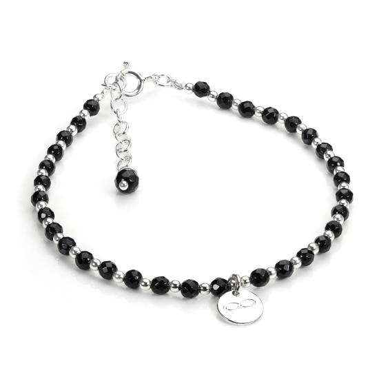 Sterling Silver & Black Agate Bead Adjustable Bracelet with Infinity Charm