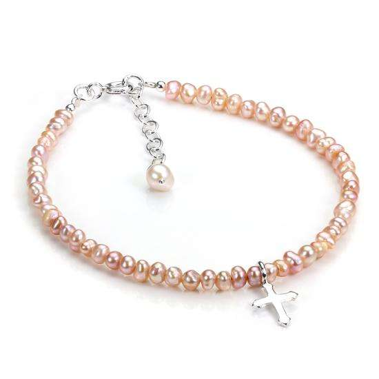 Sterling Silver and Pink Freshwater Pearl Adjustable Bracelet with Cross