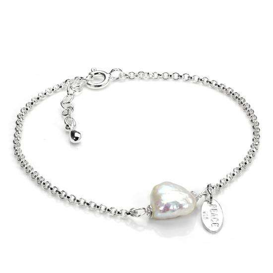 Sterling Silver Rolo Chain Bracelet with Natural Freshwater Pearl