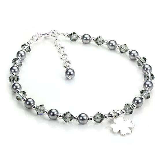 Sterling Silver and Grey Crystal Adjustable Bracelet with Shamrock Charm