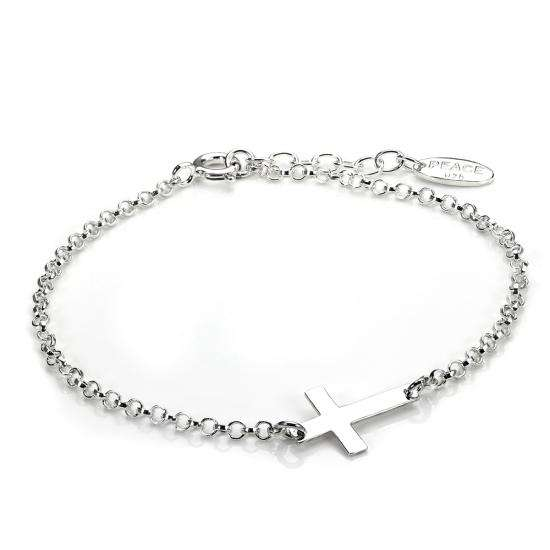 Sterling Silver Rolo Chain Adjustable Bracelet with Cross Charm