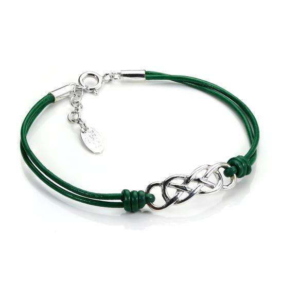 Green Leather Bracelet with Sterling Silver Celtic Knot