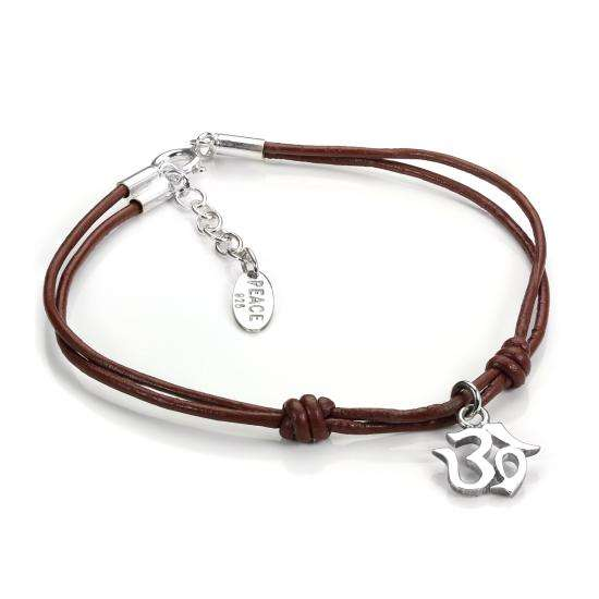Brown Leather Cord & Sterling Silver OM Charm