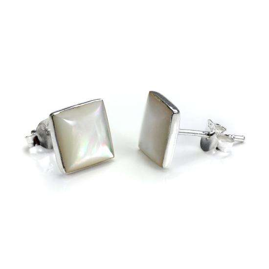 Square Sterling Silver & Mother of Pearl Stud Earrings