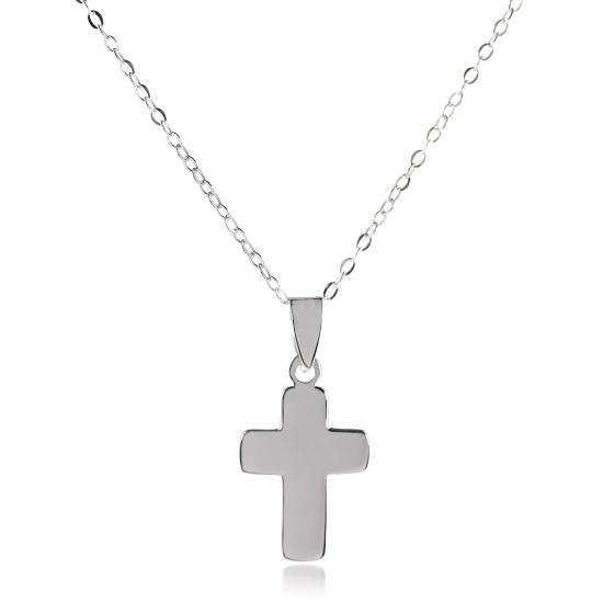 Sterling Silver Rounded Cross Charm Pendant Necklace