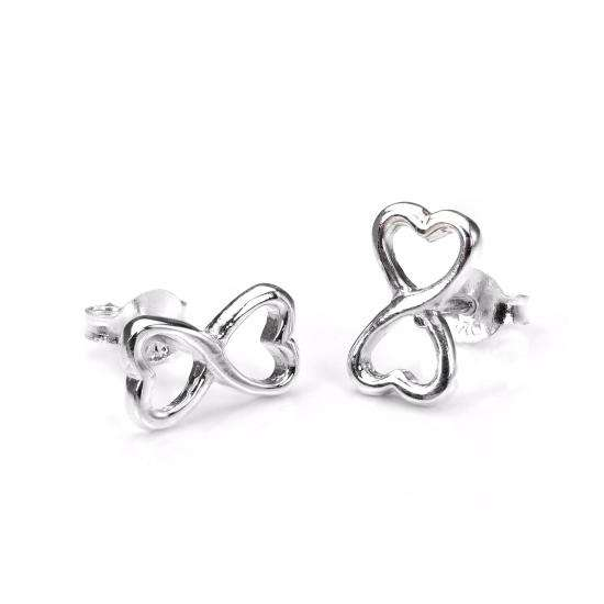 Sterling Silver Infinity Heart Stud Earrings