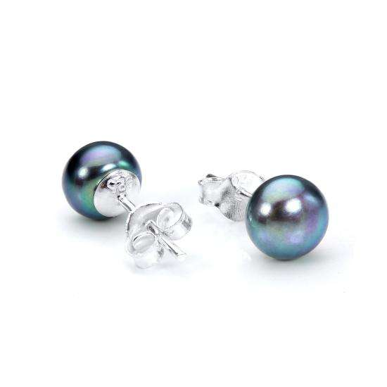 Sterling Silver & Tahitian Freshwater Pearl Stud Earrings