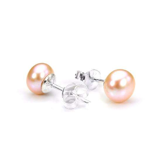 Sterling Silver & Pink Freshwater Pearl Stud Earrings