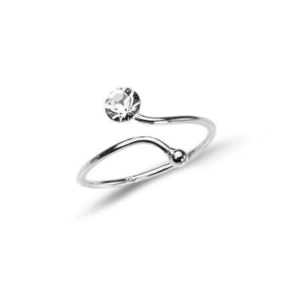 Sterling Silver Adjustable Wire Toe Ring with 4mm Crystal CZ - Clear