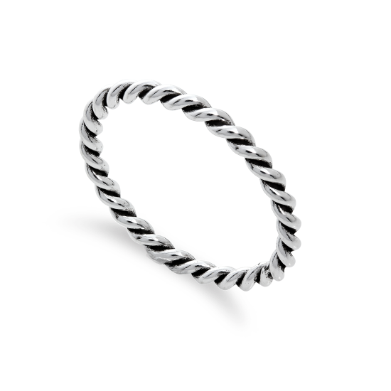 Sterling Silver 2mm Stacking Twisted Rope Ring Sizes I - U