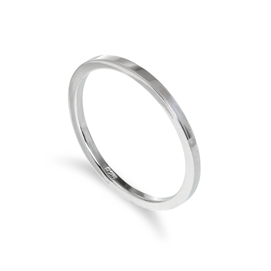 Plain Sterling Silver 2mm Stacking Ring Size I-U