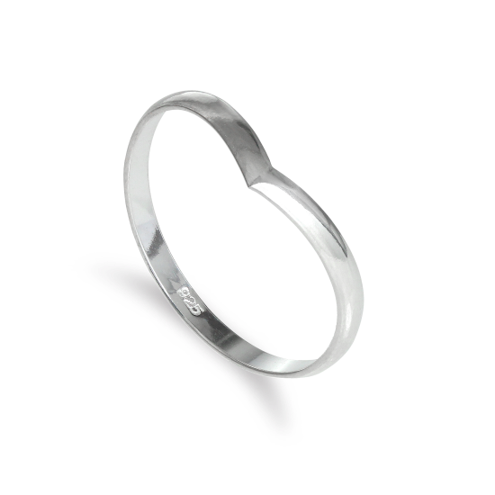 Sterling Silver 2mm Simple Wishbone Stacking Ring Size I-U