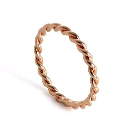 Rose Gold Plated Sterling Silver Twisted Rope Stacking Ring Size H - X