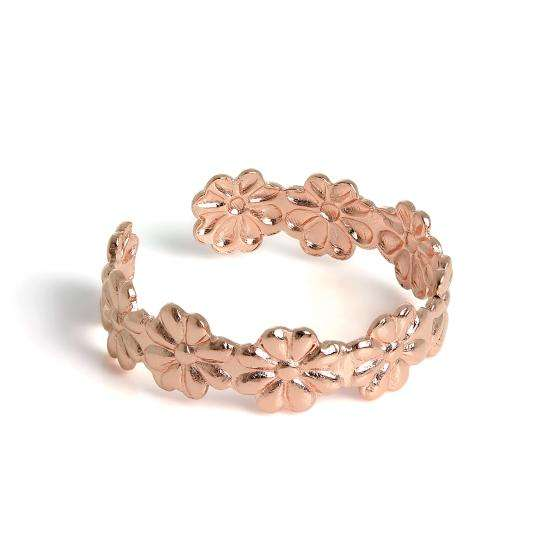 Rose Gold Plated Sterling Silver Daisy Toe Ring