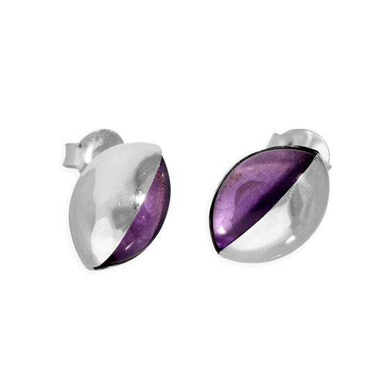 Sterling Silver & Purple Two-Tone Stud Earrings
