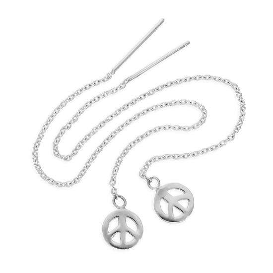 Sterling Silver Peace Symbol Pull Through Earrings
