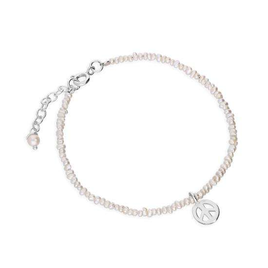 Sterling Silver & Freshwater Pearl Peace Symbol Bracelet 8 Inches