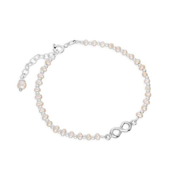 Sterling Silver & Freshwater Pearl Infinity Symbol Bracelet 8 Inches