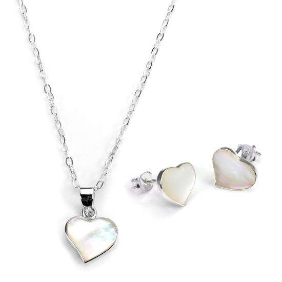 Sterling Silver & Mother of Pearl Heart Earrings & Pendant Set