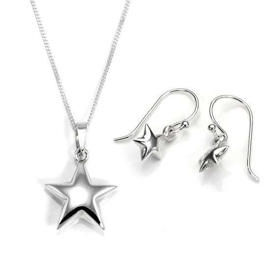 Sterling Silver Puffed Star Pendant & Earring Set
