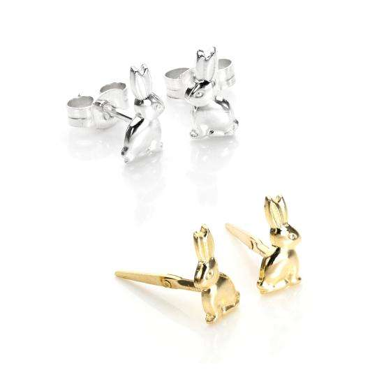 Sterling Silver & 9ct Gold Bunny Rabbit Stud Earrings Set