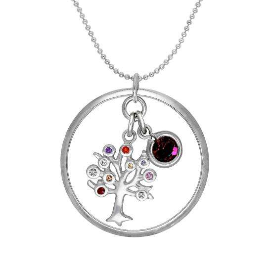 Sterling Silver Karma Moments Pendant with Birthstone CZ Charm on Bead Chain Necklace