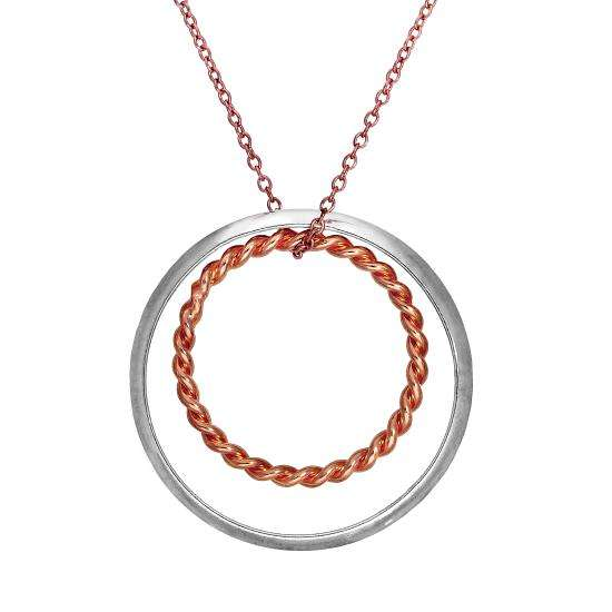 Rose Gold Plated Sterling Silver Karma Moments Twisted Rope Rings Pendant on Trace Chain Necklace
