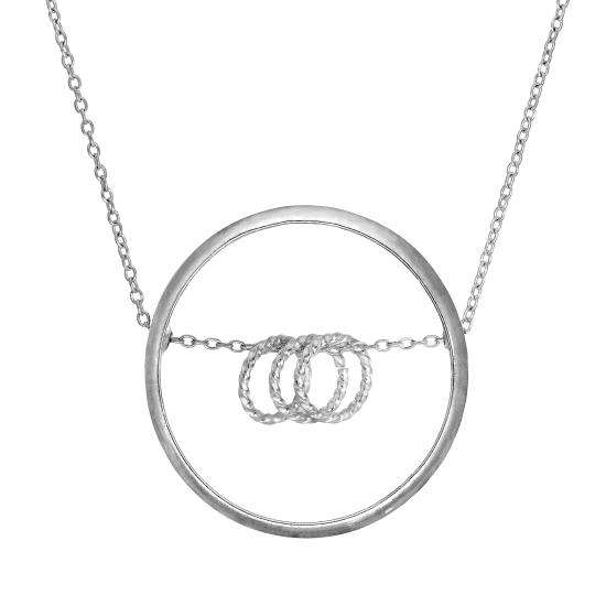 Sterling Silver Karma Moments Triple Ring Pendant on Belcher Chain 16-22 Inches