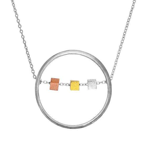 Sterling Silver Karma Moments Cube Bead & Ring Pendant Necklace 16 - 22 Inches