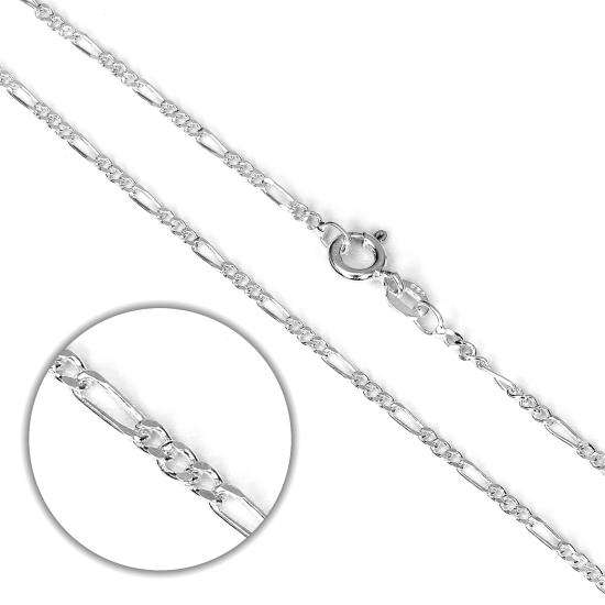 Sterling Silver Diamond Cut Figaro Chain 14 - 24 Inches