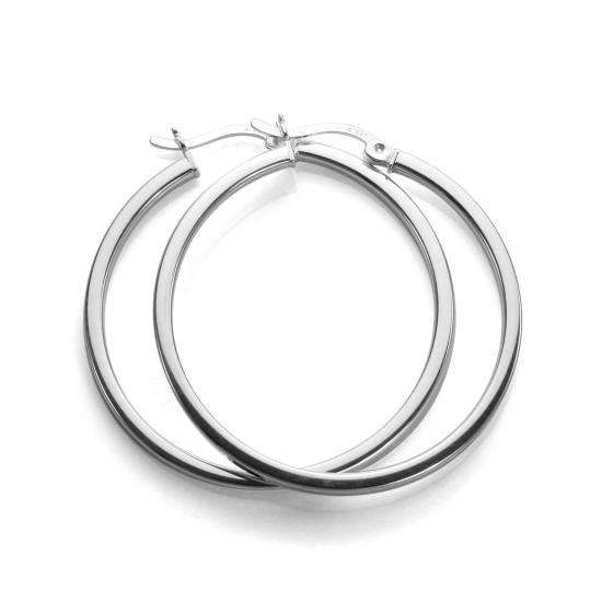 Sterling Silver 30mm Square Tube Hoop Earrings