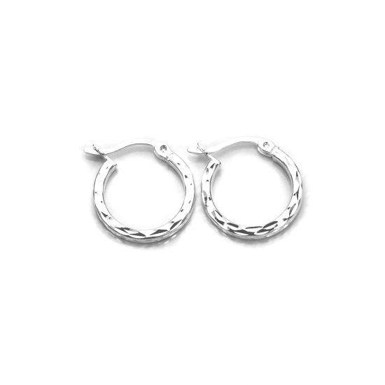 Sterling Silver Diamond Cut Square Tube 12mm Hoop Earrings