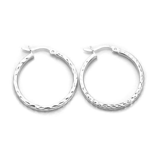 Sterling Silver Diamond Cut Square Tube 20mm Hoop Earrings