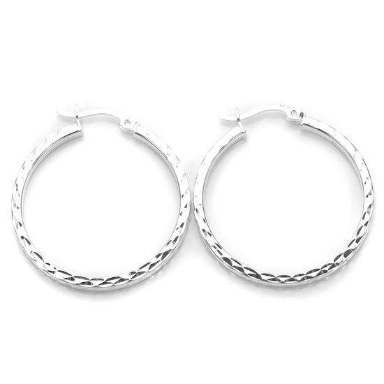 Sterling Silver Diamond Cut Square Tube 25mm Hoop Earrings