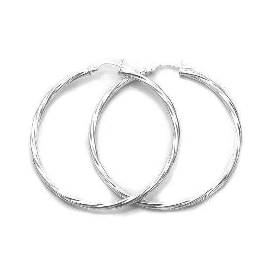 Sterling Silver 45mm Twisted 2.5mm Tube Creole Earrings