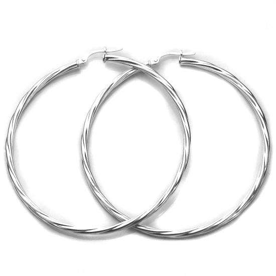 Sterling Silver 55mm Twisted 2.5mm Tube Creole Earrings