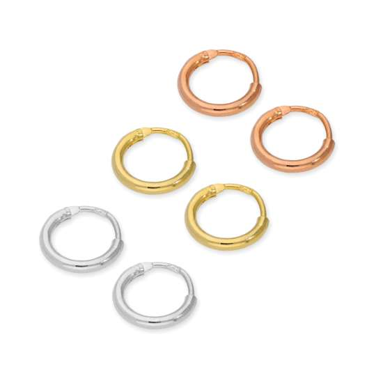 Sterling Silver 8mm Sleeper Hoop Earrings Set- Three Colours