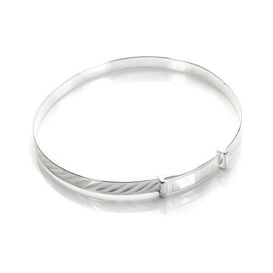 Sterling Silver Diamond Cut Expandable Baby Bangle