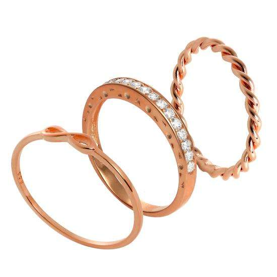 Rose Gold Dipped Sterling Silver Infinity Twisted CZ Stacking Rings Set