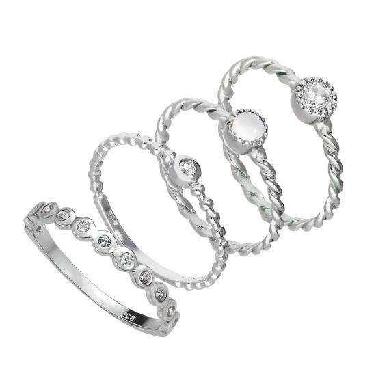 Sterling Silver Clear Twisted & Beaded CZ Stacking Rings Set
