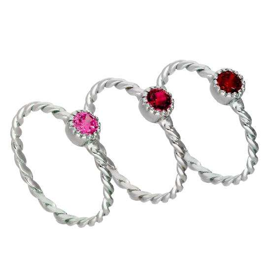 Sterling Silver Pink Twisted CZ Stacking Rings Set