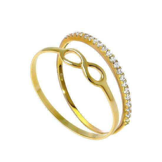 9ct Gold Infinity & Eternity Stacking Rings Set