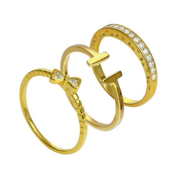 Gold Plated Sterling Silver T Bar & CZ Eternity Stacking Ring Set