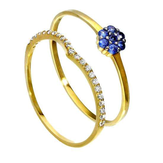 9ct Gold Wishbone & Sapphire Blue Flower Stacking Ring Set
