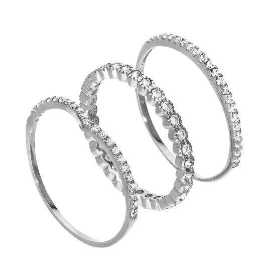 9ct White Gold Wishbone & Eternity CZ Sparkle Stacking Rings Set
