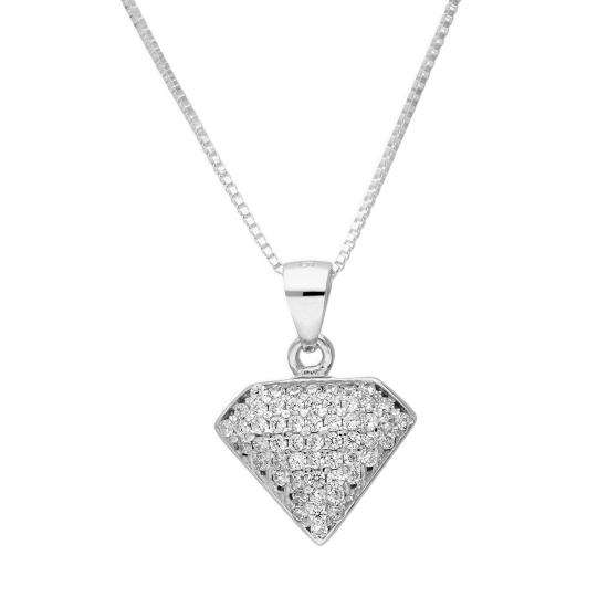 Sterling Silver & Clear CZ Crystal Jewel Shape Pendant Necklace 16 - 22 Inches