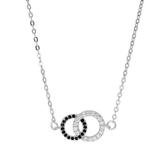 Sterling Silver & CZ Crystal Karma Circle Necklace