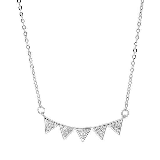 Sterling Silver & Clear CZ Crystal Bunting Necklace