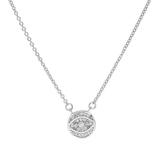 Sterling Silver & Clear CZ Crystal Evil Eye Necklace